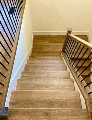 Custom made stair nose Vinyl-D&R Flooring and Renovations